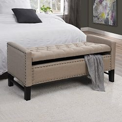 Inspired Home Columbus Linen Modern Contemporary Button Tufted with Silver Nail Head Trim Multi  ...