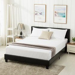 Mecor Faux Leather Bonded Platform Bed Frame/Upholstered Panel Bed Queen Size,No Box Spring Need ...