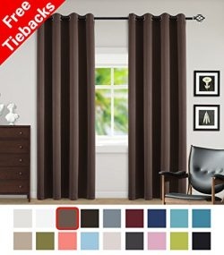 Yakamok Blackout Grommet Curtain Set, Thermal Insulated & Noise Blocking Window Drapery for  ...