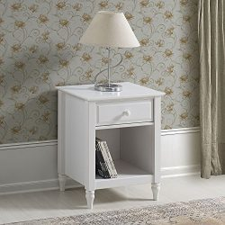 ADEPTUS Cottage Single Drawer End Table/Nightstand, White