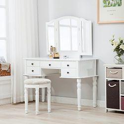 Mecor Tri Folding Mirror 5 Drawers Vanity Table Set Dressing Table Makeup Desk Dresser W/Stool E ...