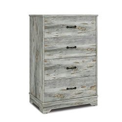 Modern 4 Drawer Wood Chest in Blue, Works as Dresser & Cabinet for Home & Office