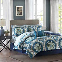 Madison Park Essentials Serenity King Size Bed Comforter Set Bed In A Bag – Blue, Medallio ...