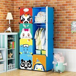 KOUSI Portable Kids Wardrobe Children Dresser Hanging Storage Rack Clothes Closet Bedroom Armoir ...
