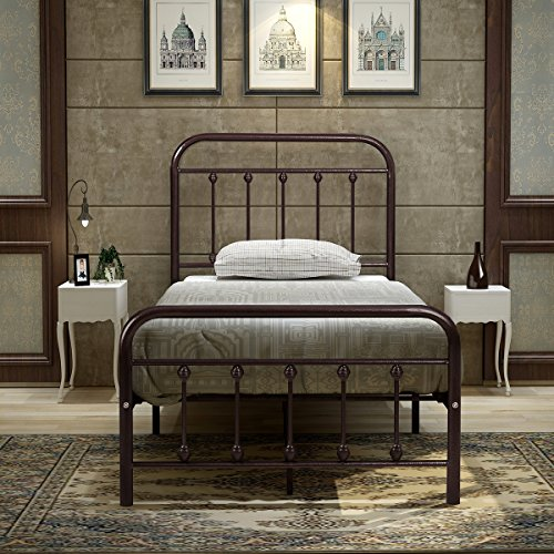 BuffHome Metal Bed Frame Steel Platform with Headboard and Footboard Iron Luxury Double Board Tw ...
