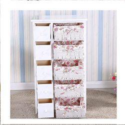 5 Drawers 5 baskets Storage Dresser Chest Cabinet Wood Bedroom Furniture