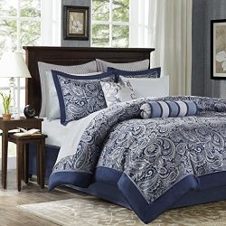 Madison Park Aubrey Queen Size Bed Comforter Set Bed In A Bag – Navy, Grey, Paisley Jacqua ...