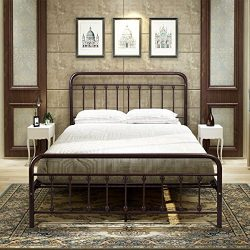 BuffHome Metal Bed Frame Steel Platform with Headboard and Footboard Iron Luxury Double Board Qu ...