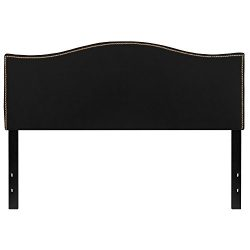 Flash Furniture Lexington Upholstered Queen Size Headboard with Decorative Nail Trim in Black Fabric