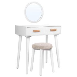 SONGMICS Modern Vanity Set with Wall Mirror, Wooden Makeup Table, 1 Stool and 2 Drawers, for Dre ...