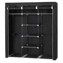 SONGMICS Portable Clothes Closet Non-woven Fabric Wardrobe Double Rod Storage Organizer Black 59 ...