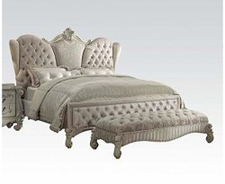 Acme Furniture ACME Versailles Ivory Velvet and Bone White Eastern King Bed
