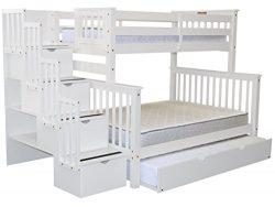 Bedz King Stairway Bunk Beds Twin over Full with 4 Drawers in the Steps and a Twin Trundle, White