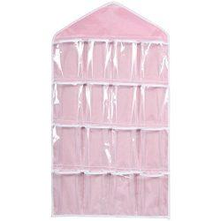 Goddessvan 16 Pockets Clear Hanging Bag Rack Hanger Storage Organizer for Socks/Bra/Underwear (Pink)