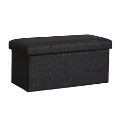 InSassy Folding Storage Ottoman Bench Foot Rest Toy Box Hope Chest Linen-like Fabric – Med ...