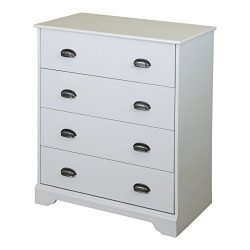 South Shore Fundy Tide 4-Drawer Dresser, Pure White with Antique Handles
