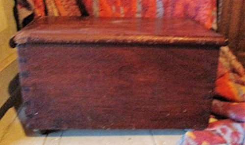 Antique Small Walnut Wooden Blanket Chest w/ Rollers