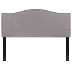 Flash Furniture Lexington Upholstered Full Size Headboard with Decorative Nail Trim in Light Gra ...