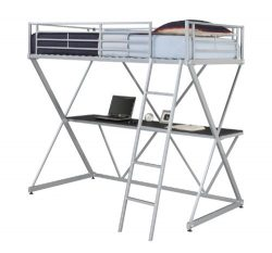 DHP X-Loft Metal Bunk Bed Frame with Desk – Silver with Space Saving Design