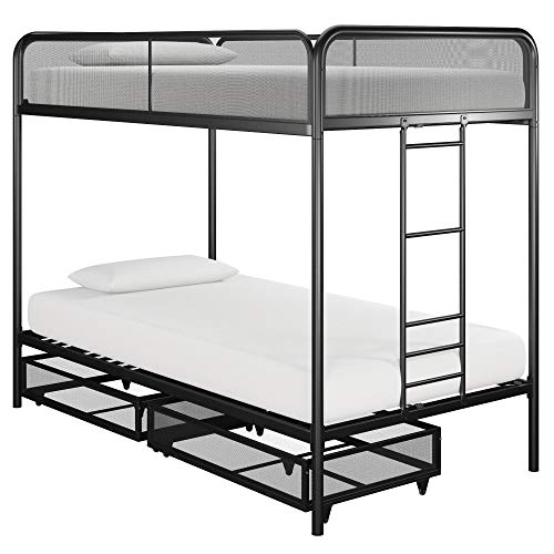 DHP DZ91755 Metal Bunk Bed, Twin over Twin, Black