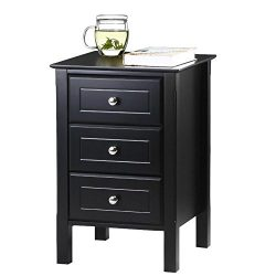 Yaheetech Black Gloss 3 Drawers Bedside Table Cabinet Stylish Nightstands Silver Handle Bedroom  ...