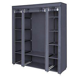 SONGMICS 59″ Closet Organizer Wardrobe Closet Portable Closet shelves, Closet Storage Orga ...