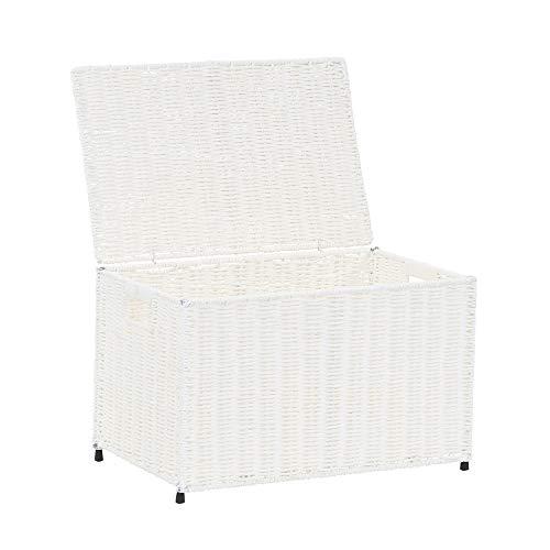 Household Essentials ml-7150 Decorative Wicker Chest Lid Storage Organization, Small, White