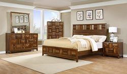 Roundhill Furniture Calais Solid Wood Construction Bedroom Set with Bed, Dresser, Mirror, Night  ...
