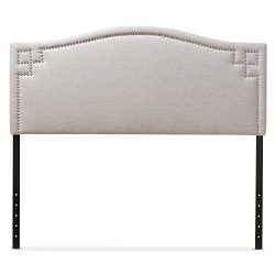 Baxton Studio Gallia Modern & Contemporary Fabric Upholstered Headboard, Queen, Greyish Beige