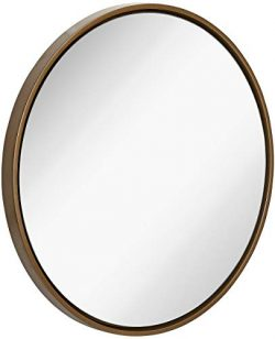 Clean Large Modern Copper Circle Frame Wall Mirror | Contemporary Premium Silver Backed Floating ...