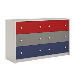 Cosco Kids Furniture Kaleidoscope 6 Drawer Dresser, Classic/White Stipple