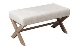 Upholstered Entryway X Ottoman Bench, Fabric Tufted Bed Ottoman with X-Shaped Rubber Wood Legs f ...