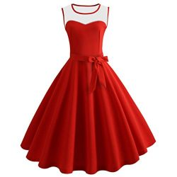 Tsmile Clearance Women Sleeveless Swing Dress Bodycon Casual Vintage Evening Party Prom Dress wi ...