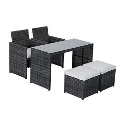 Outsunny 5-Piece Outdoor Rattan Wicker Dining Set Cushioned Patio Sectional Furniture with Glass ...