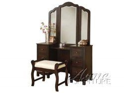ACME Furniture Jasper Espresso Bedroom Vanity and Stool – Mirror Sold Separately