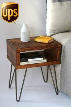 Handmade Hall Concole Accent Bedside End Table/Solid Wood Entryway Desk/Vintage Rustic Home Bedr ...