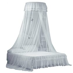 Bed Canopy Elegant Lace Round Dome Mosquito Net for Girls, Luxury Hanging Decoration Bed Crapes  ...