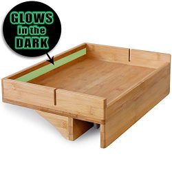Bamboo Bedside Caddy Nightstand with GLOW IN THE DARK STRIP & padded clamps to protect furni ...