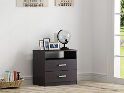 Homestar EB209106B9 Alexander 2 Drawer Nightstand, 27.56 x 24.53 x 16.77″, Black Brown