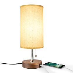 Table Lamp USB, Bedside Desk Lamp, Minimalist Modern Solid Wood Nightstand Lamp with USB Chargin ...