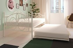 White Metal Daybed with Twin Trundle, Twin Size, Multi-functional, Metal Frame, Elegant Curves,  ...