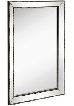Large Framed Wall Mirror with Angled Beveled Mirror Frame and Beaded Accents | Premium Silver Ba ...
