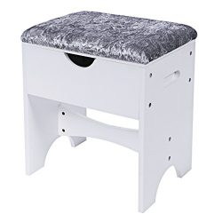 BEWISHOME Vanity Stool Bedroom Makeup Bench Piano Seat with Upholstered Seat and Storage, White  ...