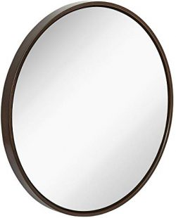 Clean Large Modern Wenge Wood Circle Frame Wall Mirror | Contemporary Premium Silver Backed Floa ...