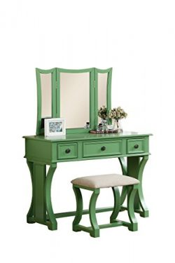 Poundex Bobkona Edna Vanity Set with Stool, Apple Green