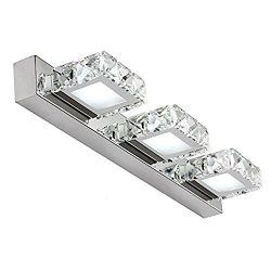Lightess Vanity Lights LED Crystal Bathroom Light Fixtures 3-Light Make Up Mirror Front Lighting ...
