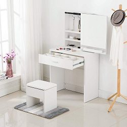 Mecor Vanity Table Set with Sliding Mirror/Drawers,Wood Makeup Dressing Table and Stool (White)
