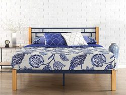 Zinus Epic Metal & Wood Platform Bed Wood Slat Support, Queen