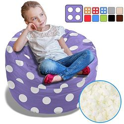 BeanBob Bean Bag Chair (Purple w/Polka Dots), 2.5ft – Bedroom Sitting Sack for Kids w/Supe ...