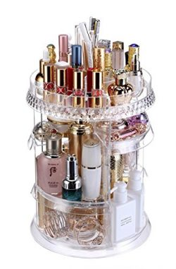 Makeup Organizer 360° Rotating Adjustable Acrylic Cosmetic Organizer Large Capacity Storage Perf ...